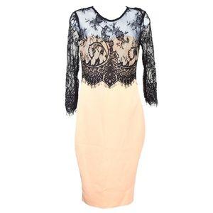 AX Paris Sheath Dress Nude Black Lace Overlay